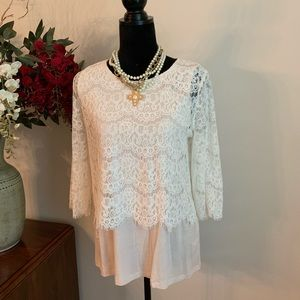 PLEIONE Lace & Cotton Tee Layered Tunic